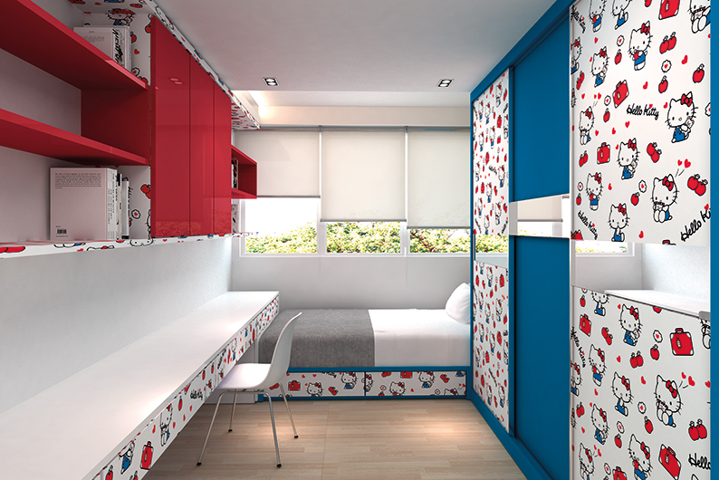 Jennings_Hello-Kitty_GenericClassic-bedroom - high pressure laminate singapore