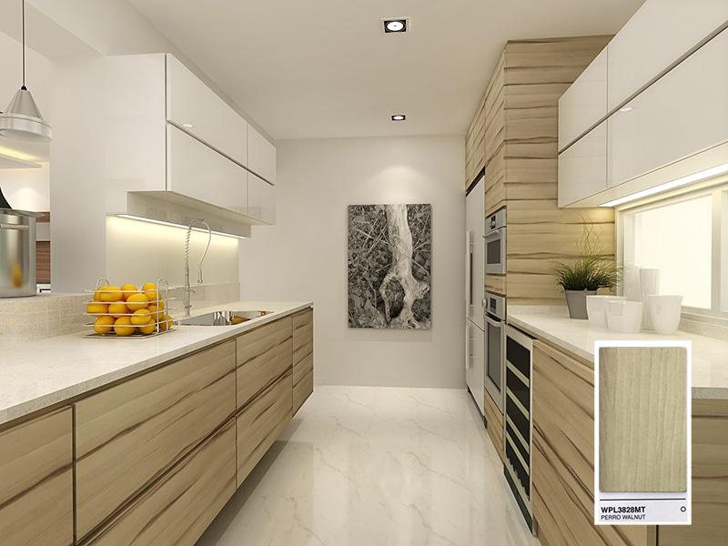 Jennings Perro Walnut (WPL3828) - laminate kitchen cabinets