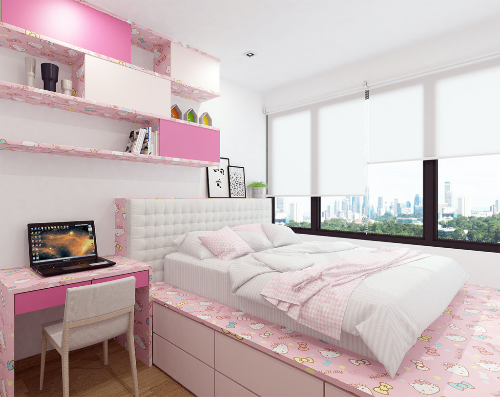 Pink HK - laminate cabinets